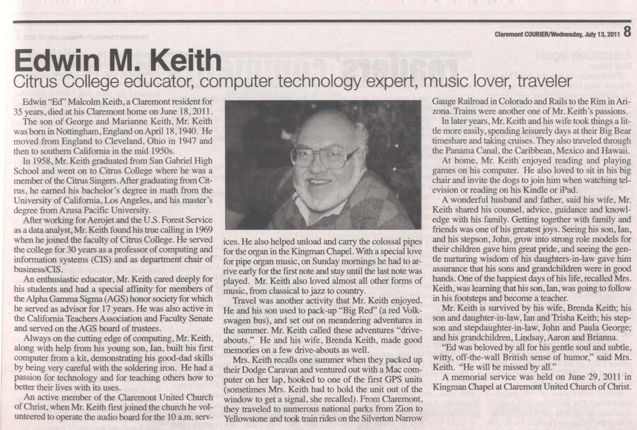 Ed Keith Obituary June 18, 2011