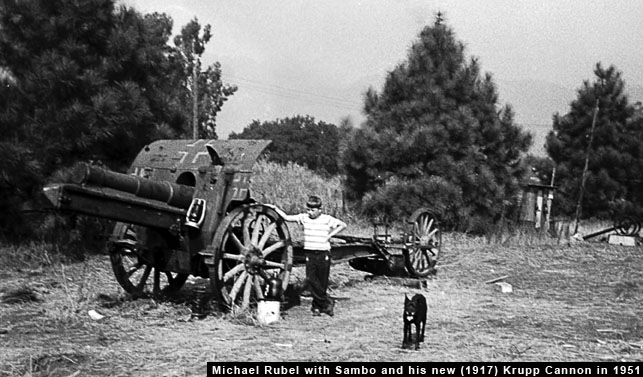 Michael Rubel with his new Krupp Cannon in 1951 at 861 E. Leadora Ave., Glendora, California Dog Sambo was always around.